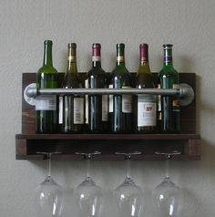 Industrial Rustic Modern 6 Bottle Wine Rack with 4 Glass Slot Holder