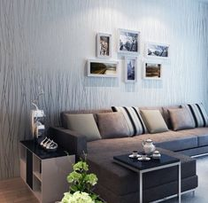 QIHANG Non-woven Classic Flocking Plain Stripe Modern Fashion Wallpaper Wall Paper Roll for Living Room Bedroom Silver&gray Color Wallpaper Roll 0.53m10m=5.3㎡ Hardware Painting Covering Supplies