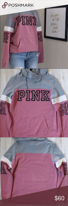 PINK VIctoria Secret Hoodie⭐️ PINK Victoria Secret Hoodie size small EUC, looks new, bagonia with gray and big Pink logo down both arms and chest ⭐️ PINK Sweaters