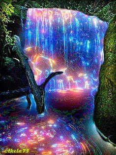 Neon Waterfall - animation on the phone . Beautiful Nature Wallpaper, Beautiful Gif, Beautiful Landscapes, Beautiful Pictures, Amazing Gifs, Amazing Nature, Gif Pictures, Nature Pictures, Gif Bonito