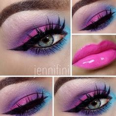Eyes of neon purple, blue, and pink eyeshadows are paired with bright pink lips for a fun exotic look.