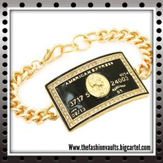 The infamous American Express Black Card, once reserved for the worlds most elite people. Not anymore... Get your very own black card with this beautiful Bracelet available online now for only $10! #amex #americanexpress #blackcard #creditcard #black #gold #bracelet #jewelry #swag #urban #fashion #sexy #style #trending #fashionista #fashionblogger #ootd #ootn #shop #thefashionvaults #boutiques #elpaso #texas