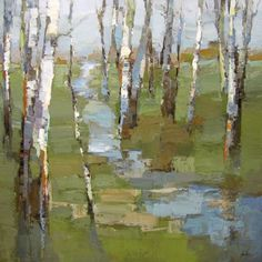 Abstract Tree Painting, Art Painting Gallery, Watercolor Trees, Watercolor Landscape, Abstract Landscape, Abstract Art, Abstract Trees, Birch Tree Art, Landscape Artwork