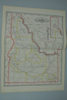Idaho Railroad and County Antique Map 1887