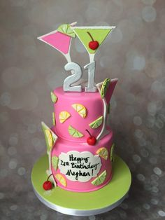 18th Birthday Cake For Girls, 21st Birthday Cakes, 21 Birthday, Birthday Stuff, Tequila Cake, Margarita Cake, Cocktail Cake, Cocktail Theme, Pina Colada Cake