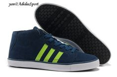 Adidas men Vlneo Bball Mid LifeStyle shoe blue deep/Neon Green/White HOT SALE! HOT PRICE!