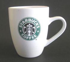 Starbucks Coffee 2007 Green Logo Mermaid White 12 oz Ceramic Coffee Mug