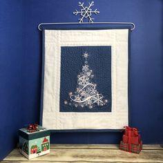 White Snowflake, Snowflakes, Christmas Embroidery, Tree Wall, Magazine Design, Blue Fabric, Machine Embroidery, Embroidery Designs, Christmas Tree