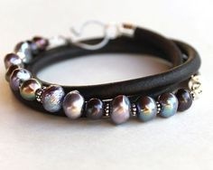 inspiration piece - Pearl Leather Bracelet - artisan style leather and freshwater pearl multiwrap