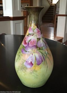 Antique Limoges Porcelain Vase Limoges Art Lanternair SIGNED Teugram Orchid…