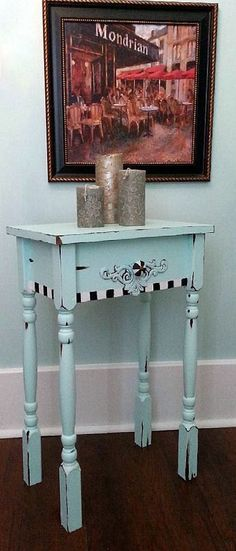 Hand painted Shabby Chic Nightstand side table. Aqua Chiffon. By shabbysleek. Now available on Etsy for only $185.