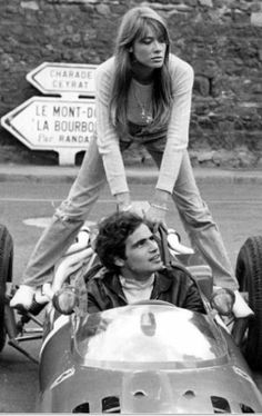 Ms Francoise Hardy during filming of Grand Prix in 1965.