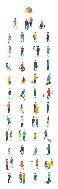 "Drawing People ""Isometric People"" // Gleb Tagirov via Behance - People Illustration, Character Illustration, Illustration Art, Illustrations, Isometric Art, Isometric Design, Architecture People, Architecture Drawings, Architecture Panel"