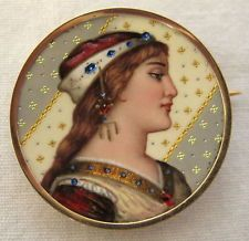 Fine Art Nouveau Swiss Enamel & 14K Yellow Gold Pin