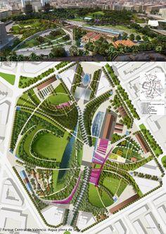diseño del parque central de valencia