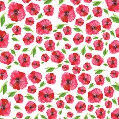 Background, art, flowers, red, nature, illustration