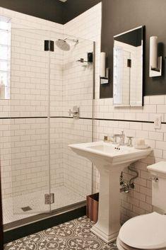 For more bathroom ideas and bathroom remodeling, please visit www.akbchicago.com Designed by Andersonville Kitchen & Bath, in Chicago. Bathroom decor, bathroom remodeling, chicago, design, showroom, planning, cabinets, vanity, small vanity, cabinetry, white cabinets, flat cabinets, slab cabinets, designer, bathroom makeover, bathroom update, countertops, cement tile, marble, shower, shower glass, backsplash, dream bathroom, modern design, transitional design, traditional design, home remodel