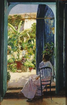 poboh: An Andalusian Courtyard (Andalusian Laziness), ca Julio Romero de Torres. Spanish Painters, Spanish Artists, Malaga, Great Paintings, Open Window, Oeuvre D'art, Art Nouveau, Art Google, Love Art