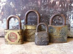 Image detail for -Vintage Collection of Antique Locks Lot of 4 by AlteredArcheology