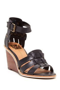 Dolce Vita DV by Dolce Vita Cho Wedge Black leather Sandals women's -- You can get additional details at the image link. (This is an affiliate link and I receive a commission for the sales)