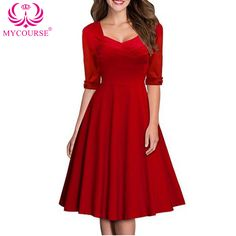 Find More Dresses Information about MYCOURSE Womens Vintage Retro 50s Square Collar Half Sleeve Red Celebrity Prom Party Evening Pleated Casual Retro Midi Dresses ,High Quality vintage bridesmaid dress,China dress vintage Suppliers, Cheap vintage pin up dresses from MYCOURSE on Aliexpress.com