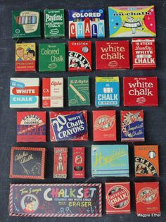 Vintage chalk boxes..great graphics