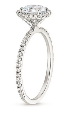 The Waverly Diamond Ring features beautiful micro-pavé diamonds that encircle the center gem and adorn the band. A diamond–encrusted gallery makes this ring truly spectacular.