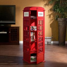 Red Phone Booth Media Cabinet for CDs:Amazon:Home & Kitchen