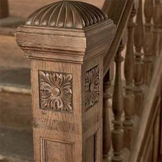 Near the end of the Victorian period, staircases and newels started incorporating more square-shaped elements—a precursor of the Craftsman style. While this newel was factory-made and ordered from a catalog, the floral carving was likely done by hand.