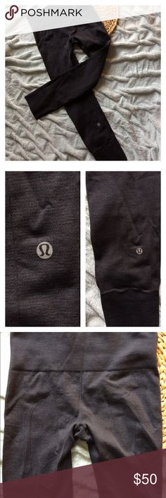 Lululemon Ribbed Tights Dark Gray 6 Size 6, no size dot but all my Lululemon pants are 6. Comfy and perfect for cooler weather. Minimal wear. Last photo is to show inside waist band. No trades. lululemon athletica Pants Leggings