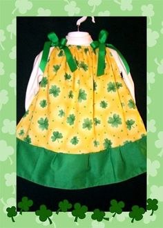St. Patty's Day Dress 3T Shamrocks & St Patricks Day Hair Bow NEW SET Boutique -Handmade pillowcase dress. $7.00 for the set on ebay. Search ebay NOW for item number 200902746882