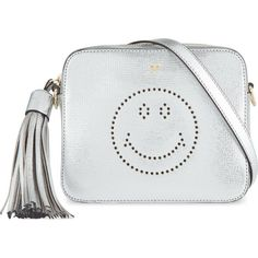 ANYA HINDMARCH Smiley metallic leather crossbody bag (2.360 BRL) ❤ liked on Polyvore featuring bags, handbags, shoulder bags, silver, leather shoulder handbags, crossbody shoulder bags, metallic leather handbags, leather cross body purse and leather cross body handbags