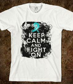 Ovarian Cancer Keep Calm and Fight On Shirts by hopedreamsdesigns.com #ovariancancer #ovariancancerawareness #ovariancancershirts