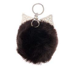 Black Cat Ear Faux Fur Pom Pom,
