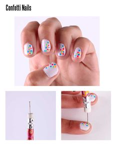 confetti nails (why have I never thought of trying to pin to make a dotting tool!) duhhh!