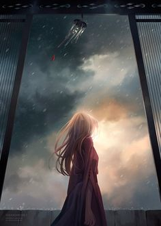 When the storm is coming. l anime illustration Manga Anime, Art Manga, Anime Pokemon, Anime Kawaii, Beautiful Artwork, Beautiful Pictures, Beautiful Sky, Anime Plus, Image Manga