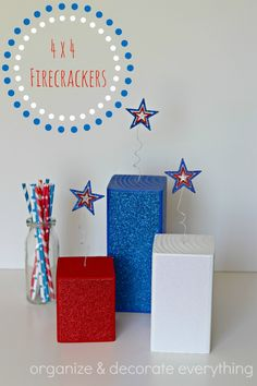 4 x 4 Glitter Firecrackers - Organize and Decorate Everything