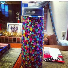 Rhinestoned water bottle #tsm sorority craft
