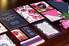 Beautiful, vibrant color palette for this wedding suite. I adore the watercolor floral motif. The colors really pop with the navy. And the textured felt paper is awesome! Oh So Beautiful Paper: Lindsy + Eric's Hot Pink and Navy Floral Wedding Invitations