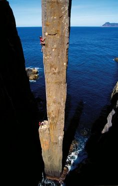 The Totem Pole, Cape Huay, Tasmania, Australia. Wow! I would absolutely love to climb this. How exhilarating, and adrenaline bubbling you would feel. Awesome.