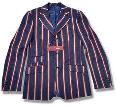 New Merc Mod Stripe Boating Jacket Blazer Navy Blue