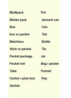 Food packages vocabulary Learning English basics