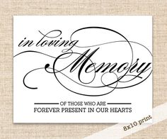 In Loving Memory Sign - Printable DIY 8x10 Sign - Wedding Reception Candle Burns in Memory Sign by konadesigns on Etsy https://www.etsy.com/listing/162103866/in-loving-memory-sign-printable-diy-8x10