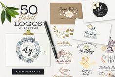 Hello, I present 50 vector logos. In this case you should use illustrator. You could change text and colors and size without loose quality. - AI and EPS files with 50 logos (layered) - free fonts used, links in Font file - jpg views of logos  There are 50 individual premade logos with floral inspirations, I hope you like it. Thank you!