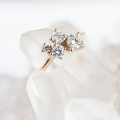 Rose gold diamond cluster ring / engagement ring / one of a kind