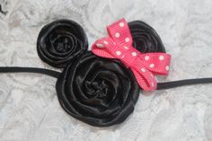 Minnie Mouse Hair Clip or Headband with a Hot by GirlyTreasures, $8.00