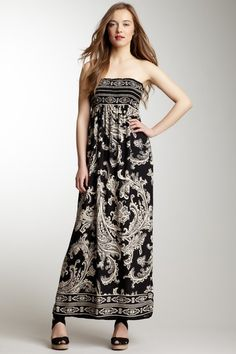 Strapless Smock Top Printed Maxi Dress.