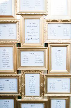 Gold frame seating charts: http://www.stylemepretty.com/california-weddings/san-diego/2015/11/14/classic-elegant-san-diego-wedding/ | Photography:  Aga Jone - http://agajonesphotography.com/