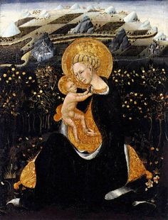 The Madonna of Humility by Giovanni di Paolo. There are two versions: a slightly bigger one dating from around 1435,  and one dated  ca. 1442.