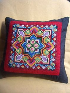 Items similar to Hand Embroidered Pillow. on Etsy Crochet Cushions, Crochet Pillow, Crochet Motif, Cross Stitching, Cross Stitch Embroidery, Hand Embroidery, Bargello Needlepoint, Needlepoint Pillows, Cross Stitch Designs
